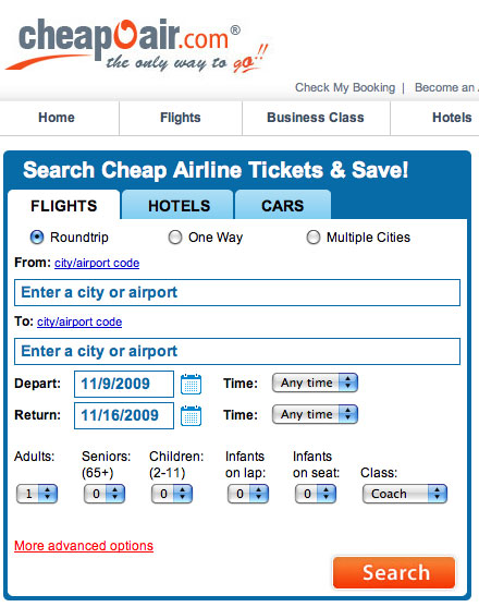 How to search Cheapoair.com for flights | Cheap Ticket Links